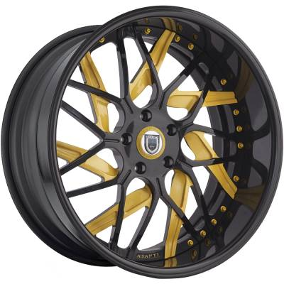 Asanti AF-132 Black and Yellow Wheels