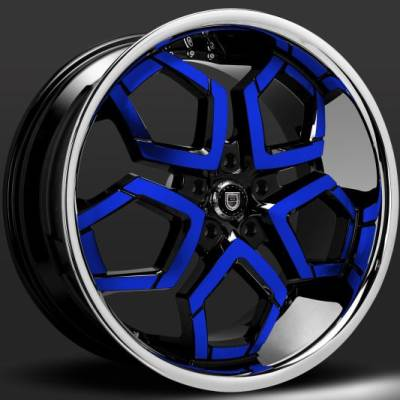 Lexani Hydra Custom Black and Blue Wheels