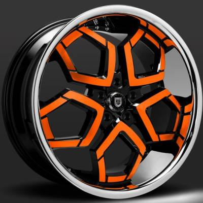 Lexani Hydra Black and Orange Custom Wheels