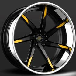 Lexani LC-109 Forged Black and Yellow Wheels